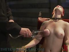 Kinky Redhead Gets Her Tits Pumped and Her Pussy Tortured