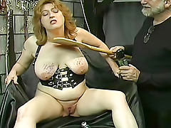 Fat old lady submits to bondage