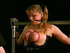 Black latex and bondage for sub girl