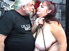 Fat brunette with astonishing and big boobies