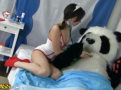 Panda costume dude bangs teen