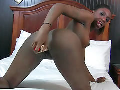 Solo toy sex with lean body black girl