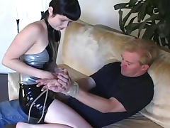 Shiny latex dominatrix abuses