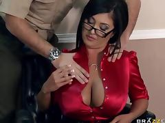 Judge Rio Has A Pair Of Big Natural Tits And She Shows The Court Bailiff porn video