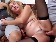 Mature Blonde Enjoys 2 Cocks And Eats Spunk