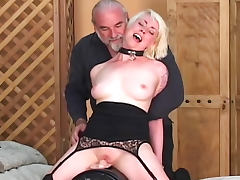 Master directs sexy lesbians in scene