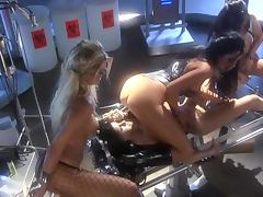 Insanely Hot Lesbians Sluts Have a Threesome In Sexy Fishnet Lingerie