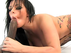 Tattooed brunette Kerry Louise in fishnet stockings is having interracial blowjob