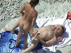 Brunette Slut Sucks Cock With Delight and Then Gets Fucked on a Beach