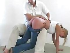 Gorgeous Submissive Blonde Gets Her Juicy Ass Spanked Barehanded