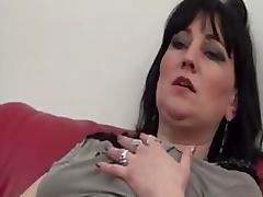 Hot Busty Brunette MILF Masturbates While Watching a Porn