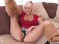 Horny Blonde MILF Masturbates For Her Son's Friend