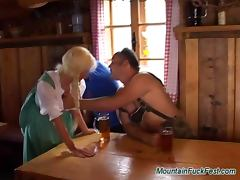 Mountain fuck fest blonde gets two cocks and cumshot