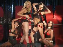 Lesbian group sex with strapon