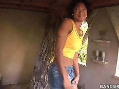 Shy ebony Evanni s not so shy when she having