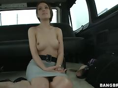 Anal on the BangBus With Gorgeous Brunette Whore