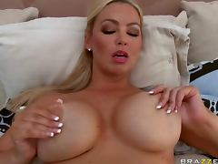 Spectacular Blonde MILF Abbey Brooks Tit Fucks and Bangs a Big Cock porn video