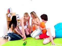 Hardcore Foursome With The Hot Teens Karolina And Honza
