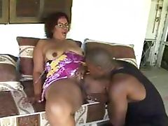 Big Assed Latina Granny Gets Pounded By 2 Black Cocks in a Threesome
