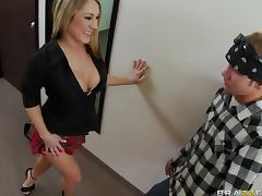 Sexy Redhead Amber Ashlee Gives Blowjob and Gets Fucked Hardcore Style