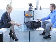 Hot blonde in office clothes gets fucked hard at the business meeting porn video