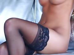 Miranda Jordan the Passions Nude blonde lies on a sofa