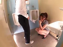 Yuna Shiina gives a blowjob in school restroom to her student