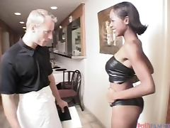 Smoking hot ebony babe Kiwi gets balled by white boys