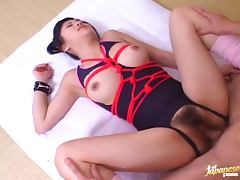 Ren Kikukawa gets her snatch fucked and filled with cum