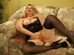 Fat mature blonde has a threesome