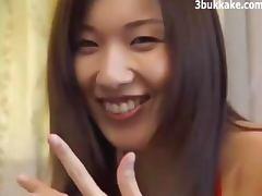 Japanese Woman Gets A Bukkake Cum Shower