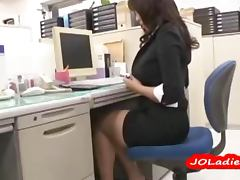 Bus, Asian, Bus, Desk, Fingering, Granny
