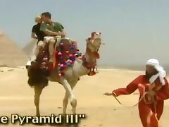 Two sexy girls having hardcore sex with guy in Egyptian desert