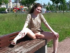 Upskirt shots of shaved pussy outdoors