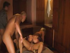 Beautiful Blonde gangbanged in Hotel Room porn video