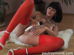 Ethnic, Brunette, Dildo, Ethnic, Solo, Stockings