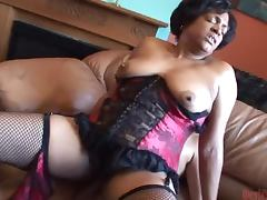 Hairy Ebony Babe Fucks With a Guy in a Raunchy Scene porn video