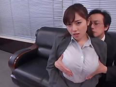 Busty cutie Azumi Nocturne gets fucked by two dudes in an office porn video