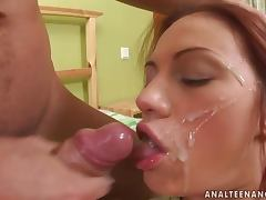 Horny and lusty redhead Wendy loves a facial
