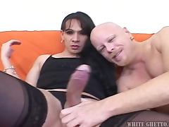 This brunette shemale got a cock bigger than his cock