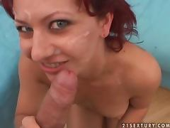 Kinky redhead girl sucks a cock and gets facialed