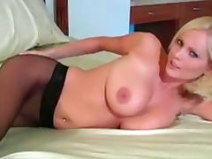 Sensual blonde Hanna Hilton playing with her sexy pussy