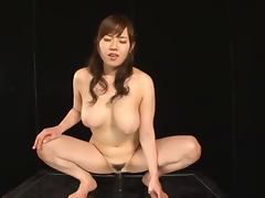 Kinky Japanese bitch Azusa Nagasawa rides a big black dildo