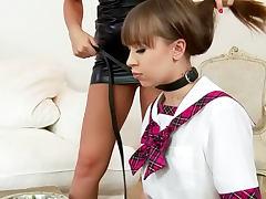Grace Noel fucking her schoolgirl Vanessa Jordin with dildo