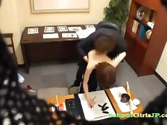 Schoolgirl Drawing With Brush In Her Pussy Sucking Teacher In The Office