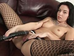 Sexy Aria Aspen fingers and toys herself with huge black dildo