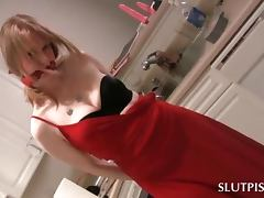 Tied up blonde sex slave gets punished to piss