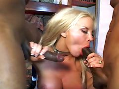 Gorgeous blonde dp threesome with two black guys