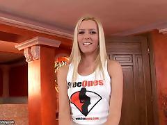 Blond honey Sophie Moone shows off her undies