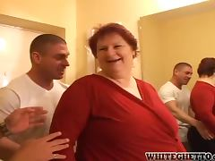 Fat granny gets her pussy and asshole drilled hard